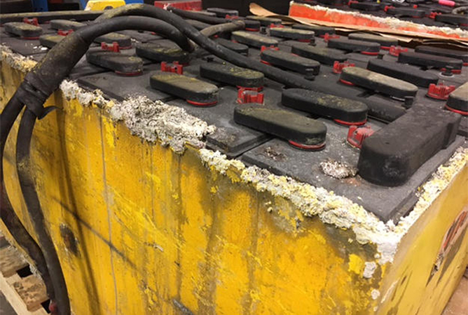 Forklift Battery Over-watered